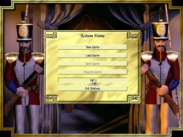 Stratego Windows The game's main menu appears when the mouse button is clicked. Games can be saved and re-visited at a later date
