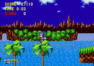 Sonic the Hedgehog Genesis Jump on the tree.