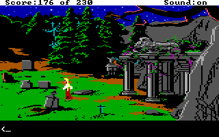 "King's Quest IV: The Perils of Rosella DOS AGI: ""-Aren't you afraid to walk through a graveyard at night? -I used to be - when I was alive!"""
