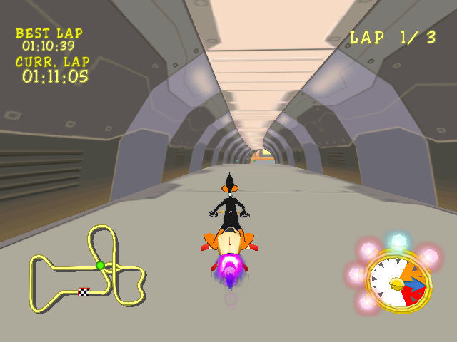 Looney Tunes: Space Race Dreamcast Through a tunnel