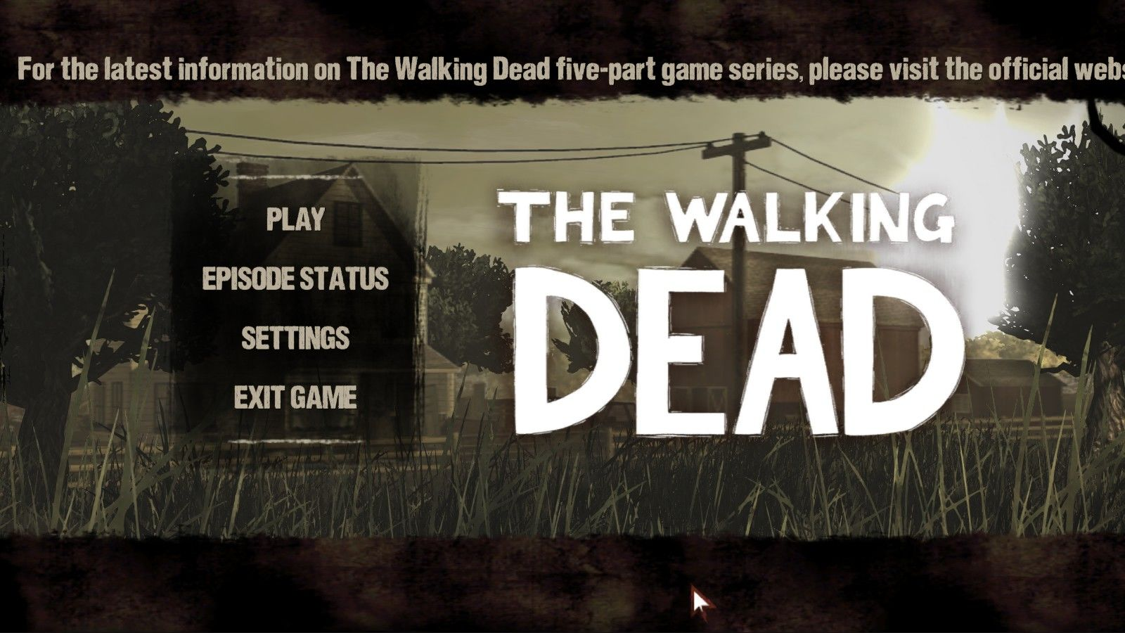 The Walking Dead Windows Main menu