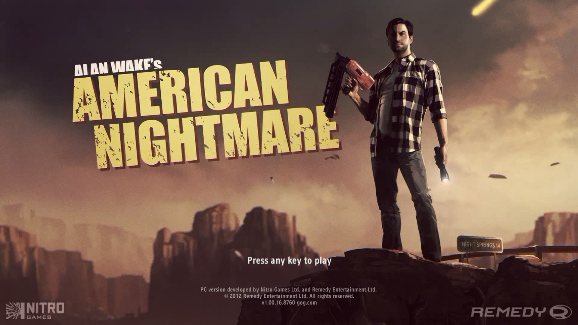 Alan Wake's American Nightmare Windows Main title.