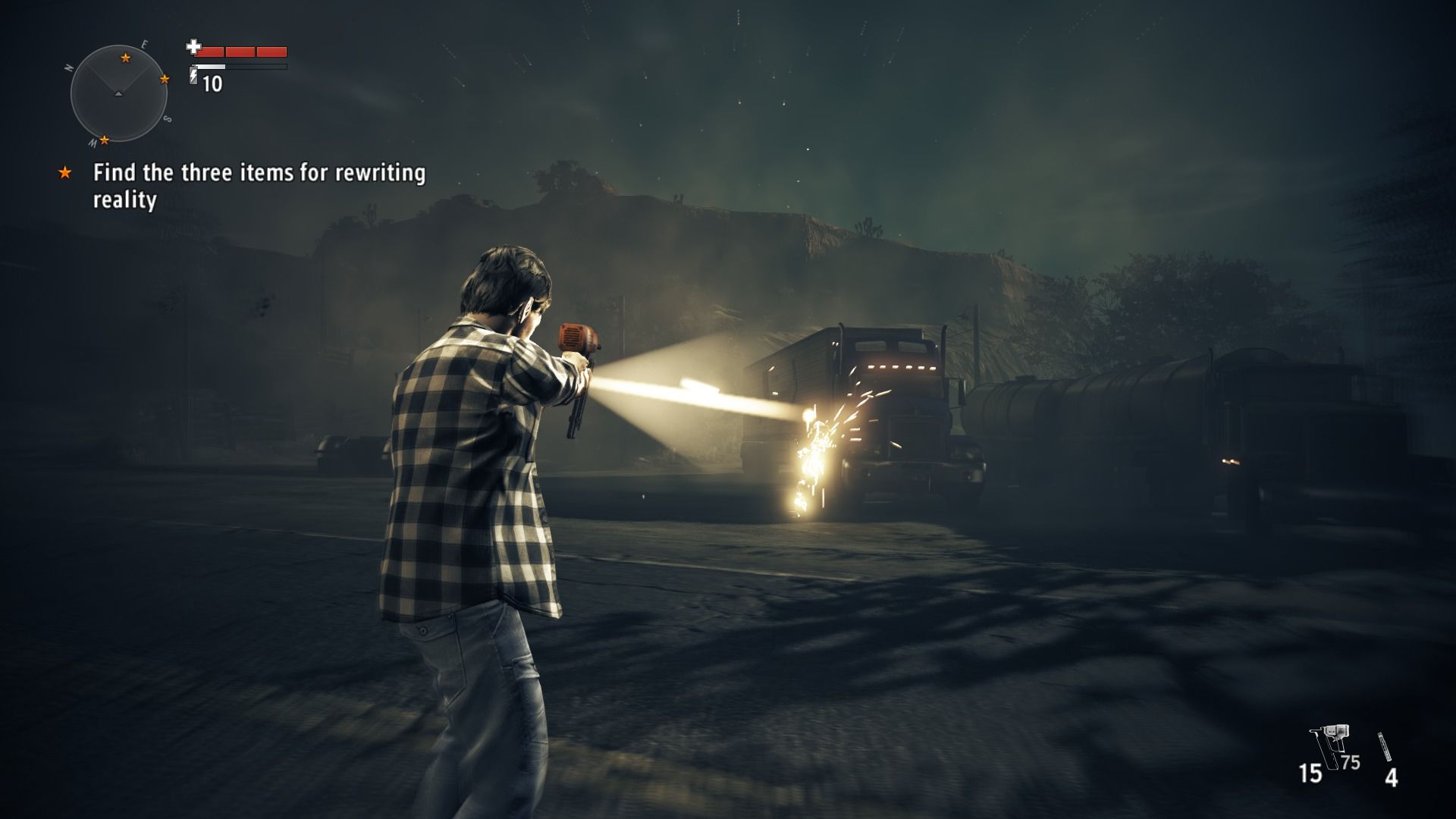 Alan Wake's American Nightmare Windows Slow-motion kicks in when the final enemy is destroyed... nail-gun is weapon of choice for this nightmare.