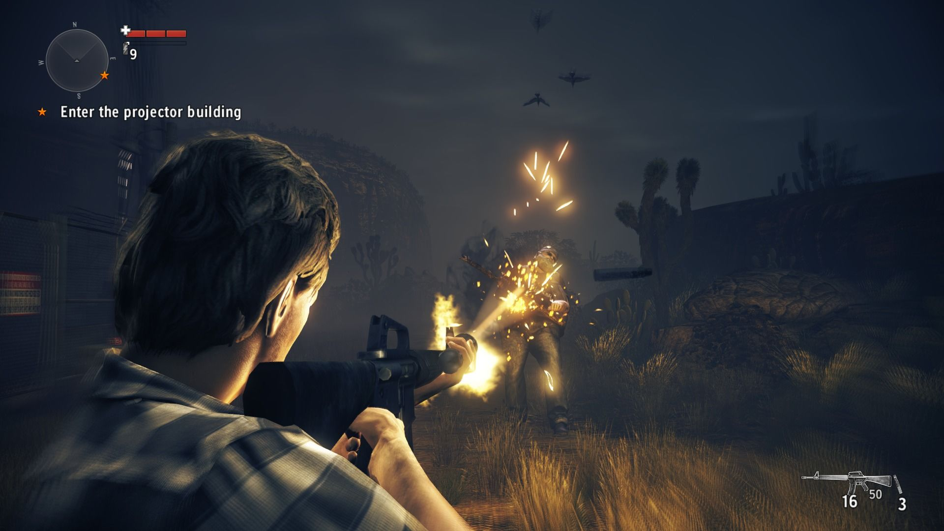 Alan Wake's American Nightmare Windows Using M-16 automatic rifle against the taken.