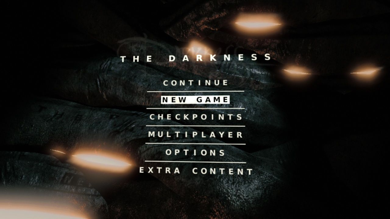 "The Darkness PlayStation 3 The main menu, animated like in <moby game=""The Chronicles of Riddick: Escape from Butcher Bay"">The Chronicles of Riddick: Escape from Butcher Bay</moby>"