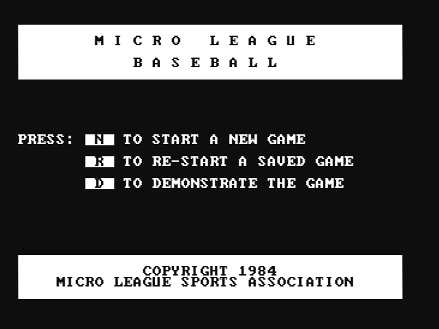 MicroLeague Baseball PC Booter The main menu (CGA with composite monitor)