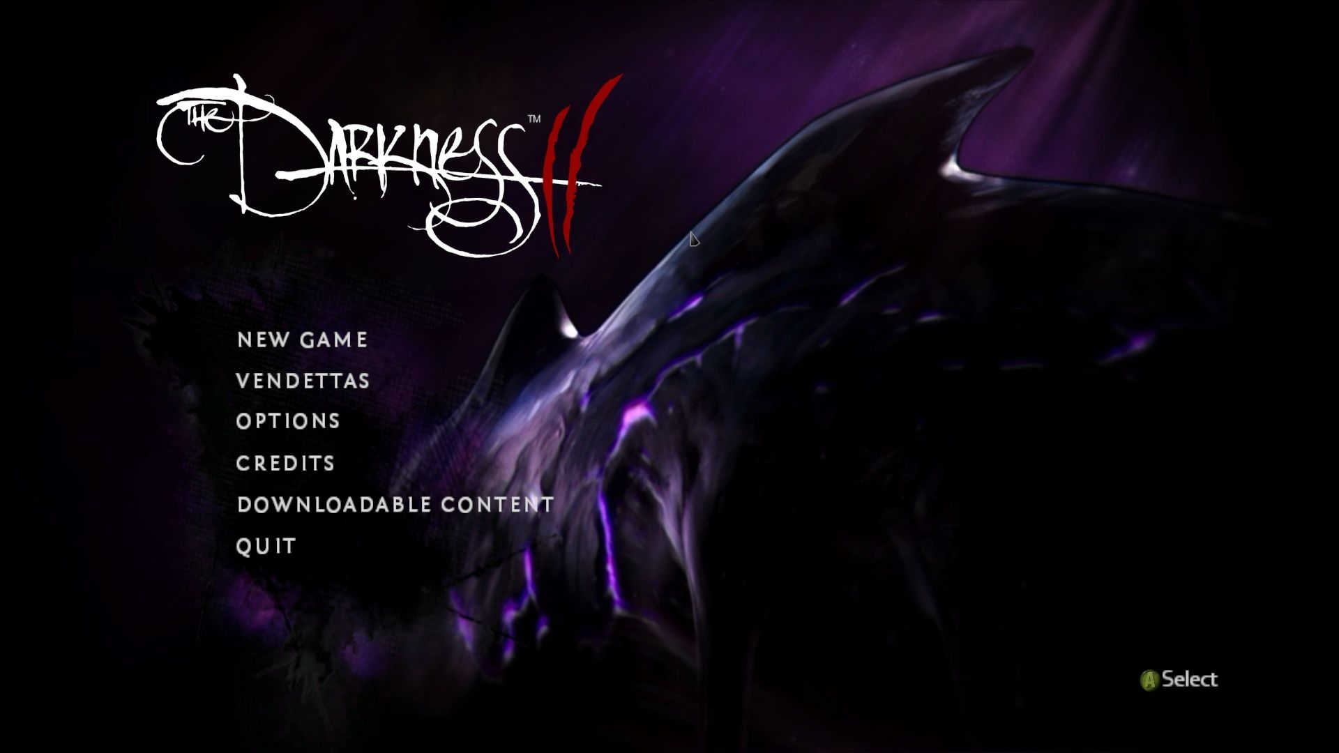 The Darkness II Windows Main menu