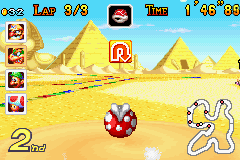 Mario Kart: Super Circuit Game Boy Advance Swallowed by a piranha plant at the twisting Yoshi Desert track.