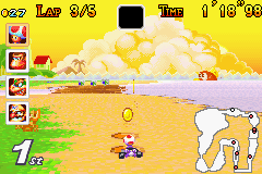 Mario Kart: Super Circuit Game Boy Advance Shrunk to a little Toad after someone used the lighting power-up at Cheep-Cheep Island.
