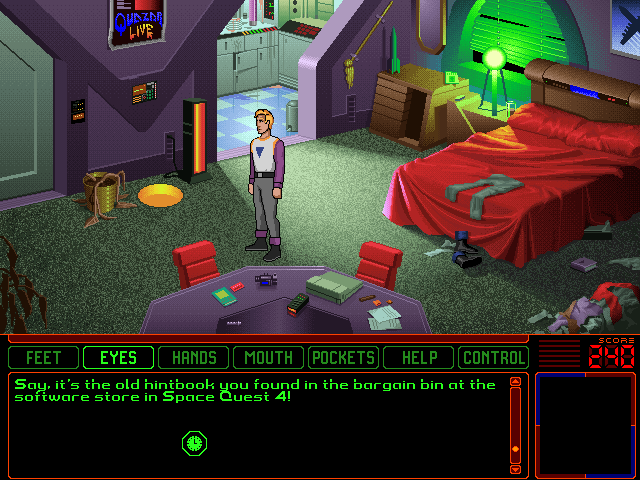 Space Quest 6: Roger Wilco in the Spinal Frontier DOS Roger's quarters. Considering that Roger is a janitor - it shouldn't be messy - but it is