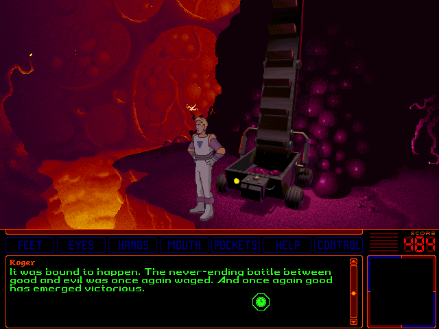 Space Quest 6: Roger Wilco in the Spinal Frontier DOS Roger pats himself on the back... But things aren't over yet!