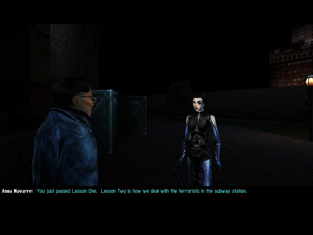 Deus Ex Windows JC receives his assignment from Anna Navarre early in the game
