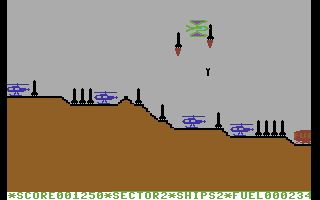 Super Skramble! Commodore 64 All those missiles aren't there for nothing, sooner or later they will begin to launch