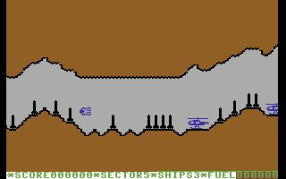 Super Skramble! Commodore 64 Part of the cave system taken from the game's demonstration mode