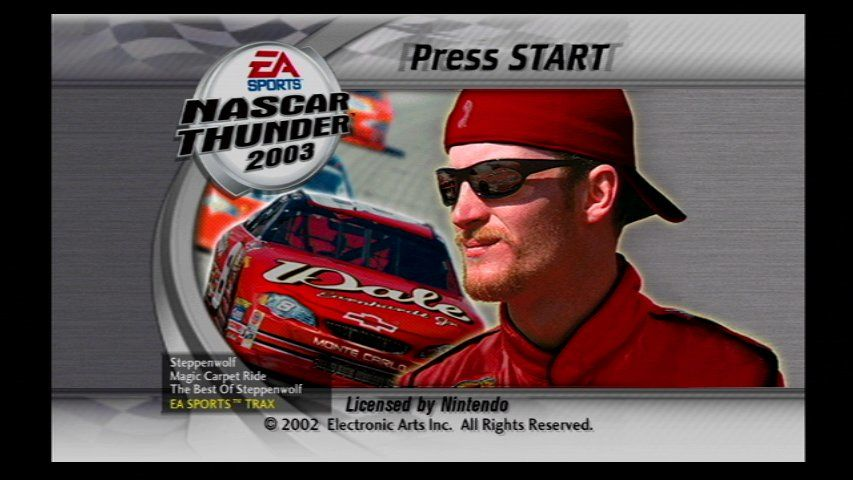 NASCAR Thunder 2003 GameCube Title Screen