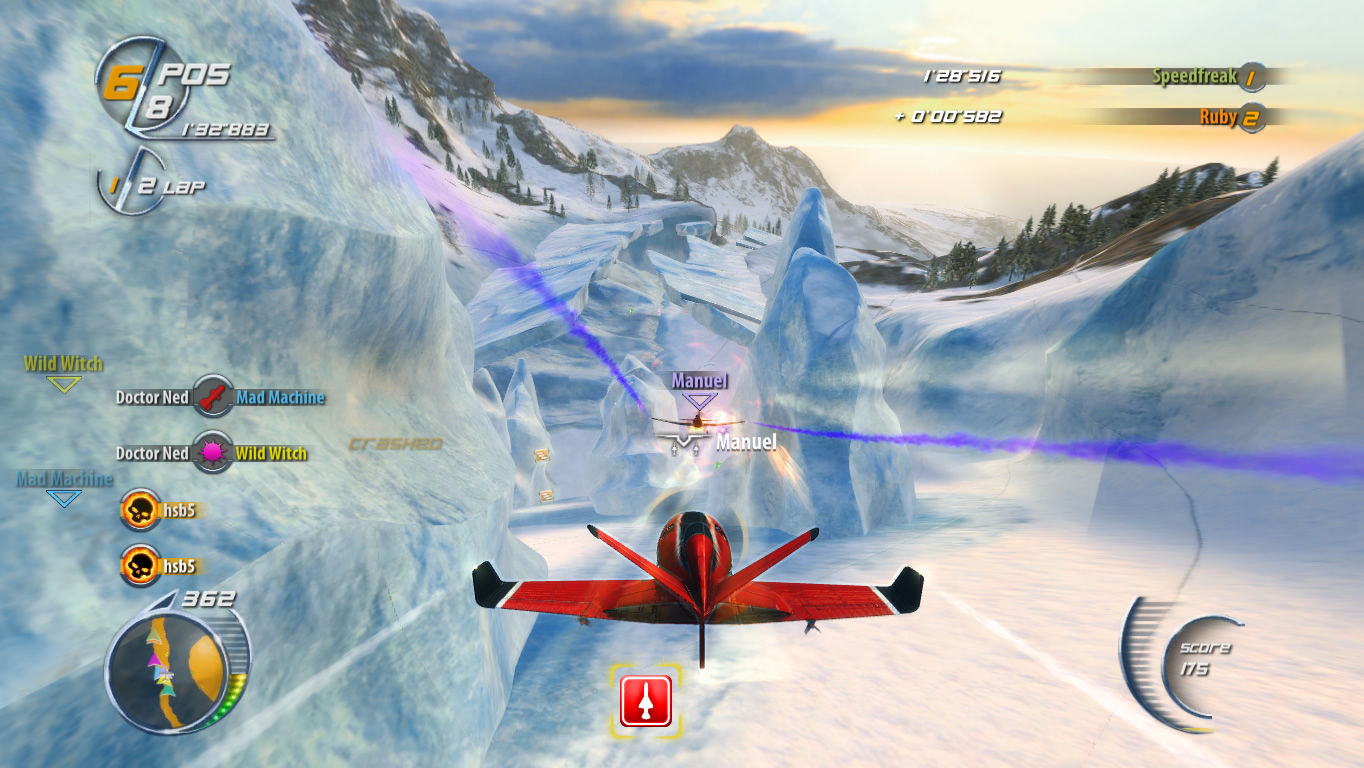 SkyDrift Windows Obstacles as the plane approaches an icy cave.
