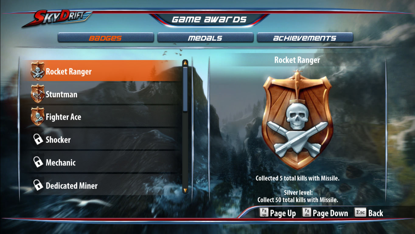 SkyDrift Windows Overview of unlocked badges, medals and achievements