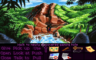 Monkey Island 2: LeChuck's Revenge DOS Outside hole in hillside.
