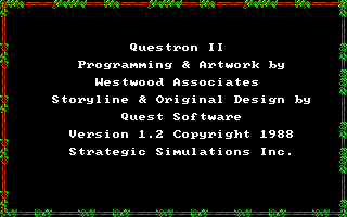 Questron II DOS Version information 1.2 (EGA/Tandy)