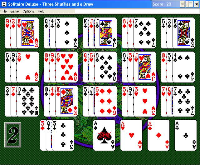 Solitaire Deluxe Windows 3.x Three Shuffles and a Draw