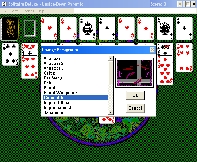 Solitaire Deluxe Windows 3.x Background selection