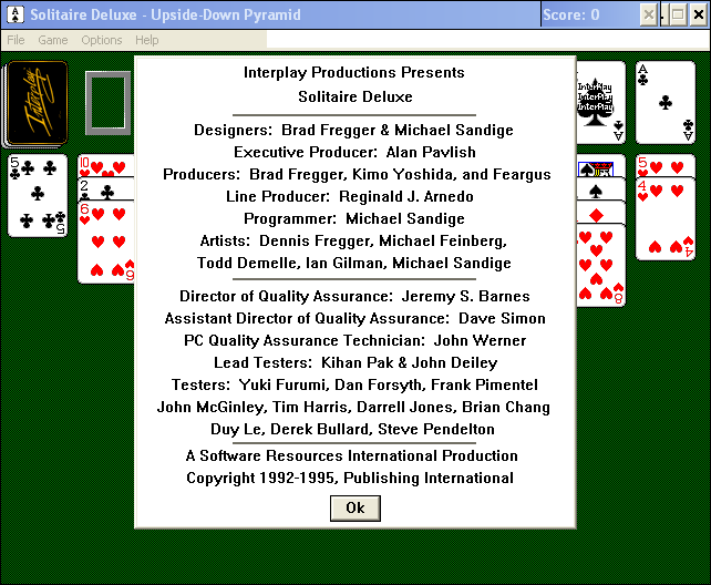 Solitaire Deluxe Windows 3.x Game Credits