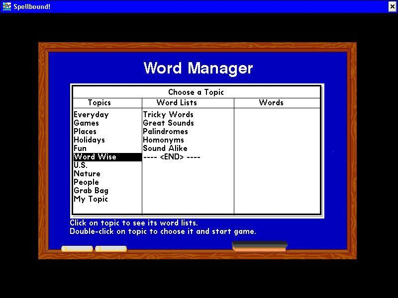 Super Solvers: Spellbound! Windows Choose your words
