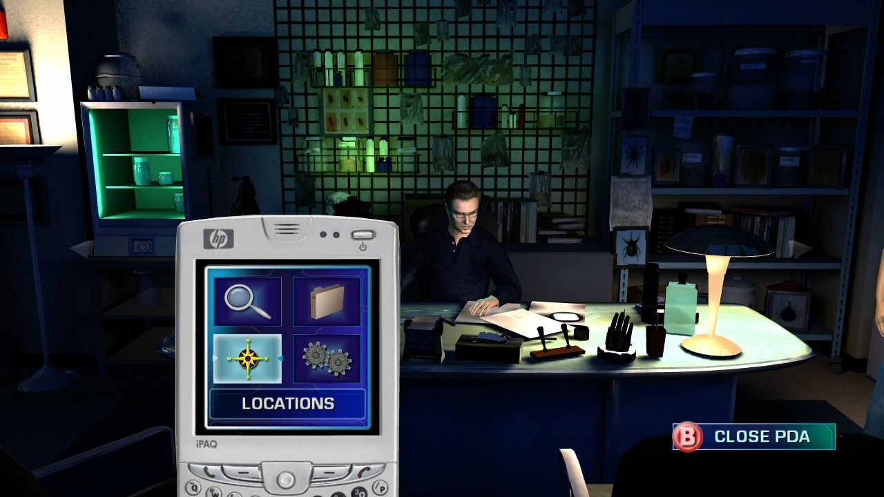 CSI: Crime Scene Investigation - Hard Evidence Xbox 360 Use your PDA to check collected evidence, review case files, travel to available locations or change the game options.