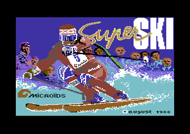Downhill Challenge Commodore 64 Title screen.