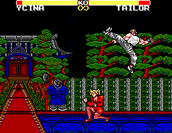 Jang Pung 3 SEGA Master System Acrobatic moves with mysterious forest background