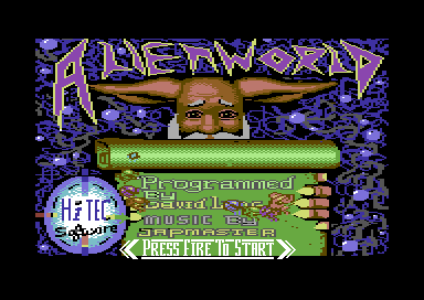Alien World Commodore 64 Title screen.