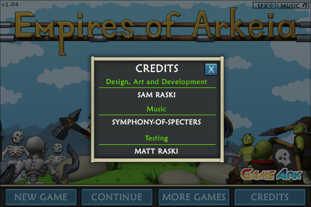 Empires of Arkeia Browser Credits