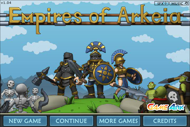 Empires of Arkeia Browser Title screen