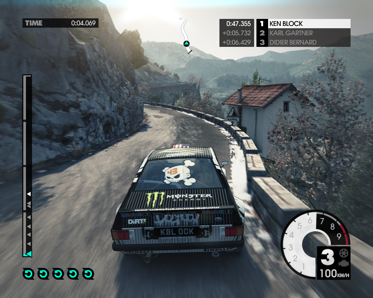 "DiRT 3: Complete Edition Windows Ford Escort Mk2 from <moby game=""Ken Block Special Pack"">Ken Block Special Pack</moby> DLC on a Monte Carlo track from <moby game=""Monte Carlo Track Pack"">Monte Carlo Track Pack</moby> DLC"