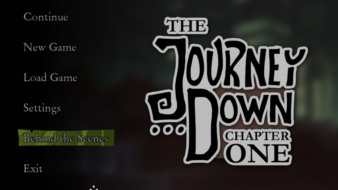 The Journey Down: Chapter One Windows Main menu