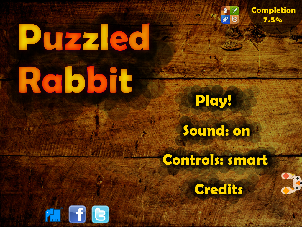 Puzzled Rabbit iPad Main menu