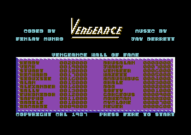 Vengeance Commodore 64 Title screen.