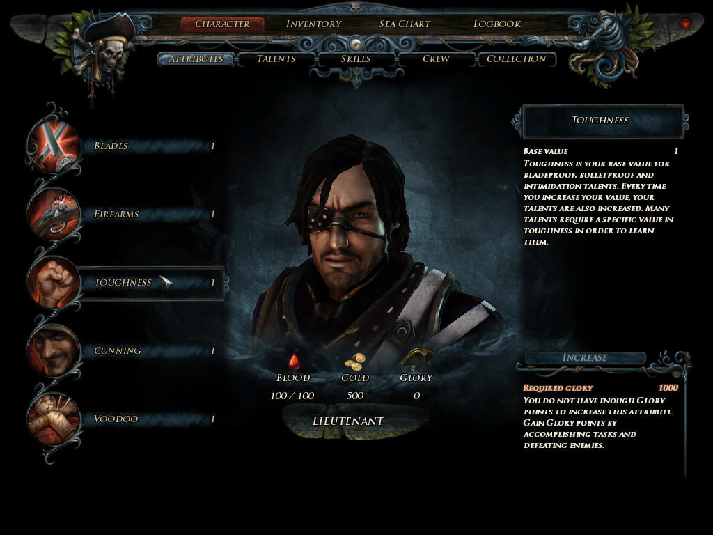 Risen 2: Dark Waters Windows Character abilities screen