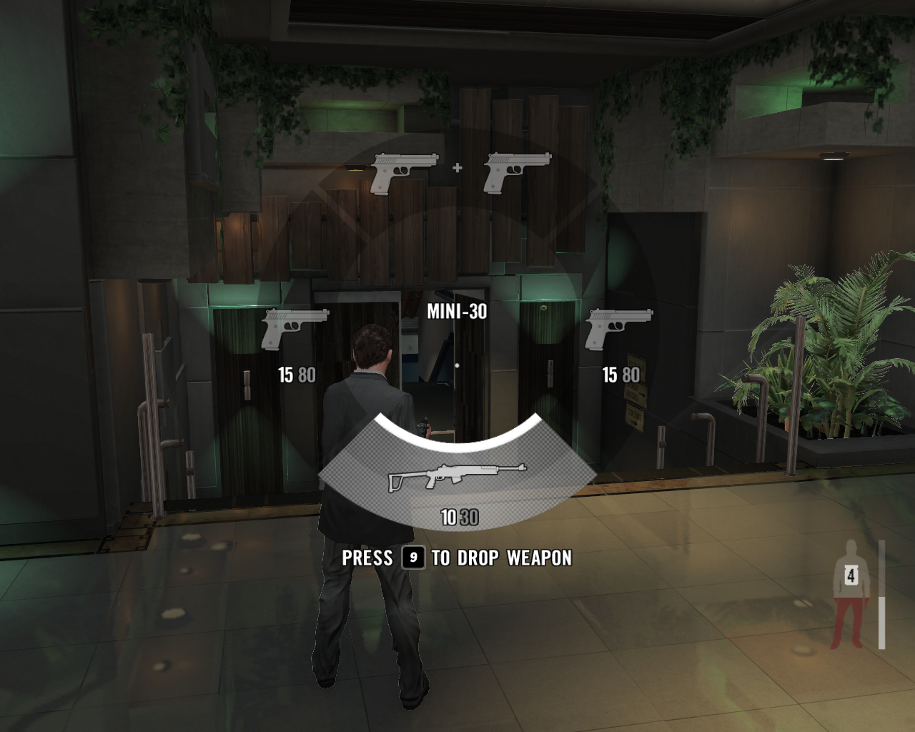 Max Payne 3 Windows Weapon select menu. If you dual-wield pistols (or other small automatic arms), you'll have to drop any heavier weapon you're carrying