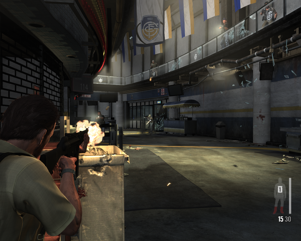 Max Payne 3 Windows An intense firefight at the back of a soccer stadium