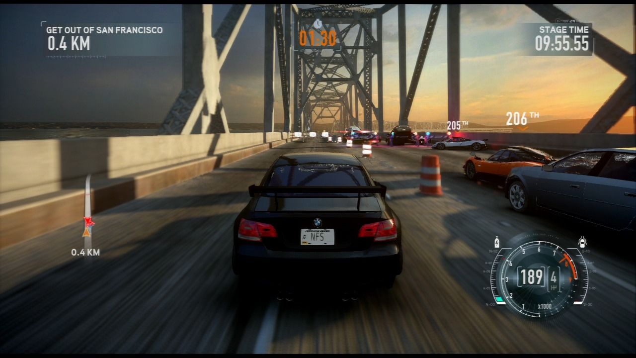 Need for Speed: The Run PlayStation 3 Passing the police roadblock.