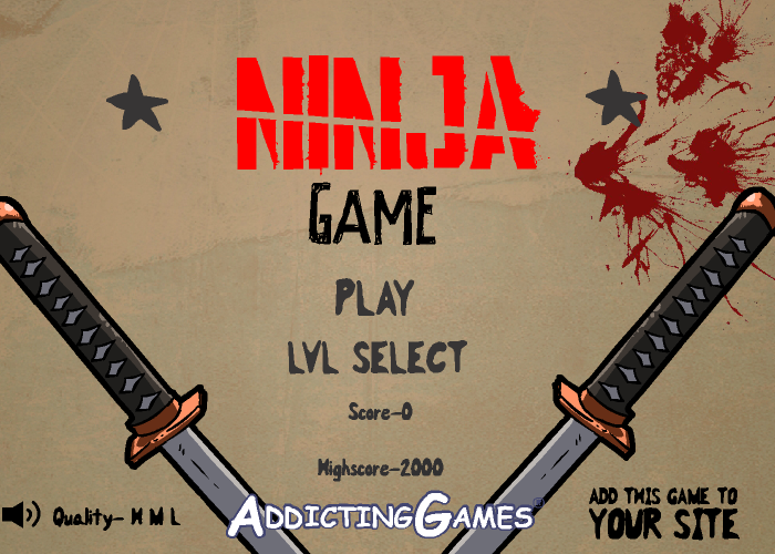 The Ninja Game Browser Title screen