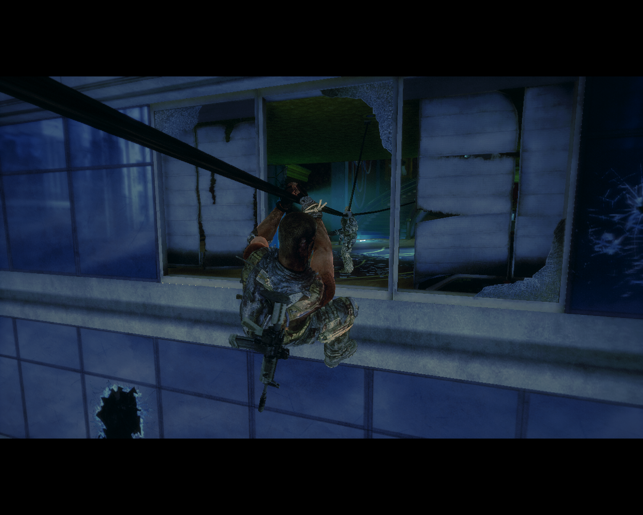 Spec Ops: The Line Windows Rappelling (instant kill for a poor guy on the other side)