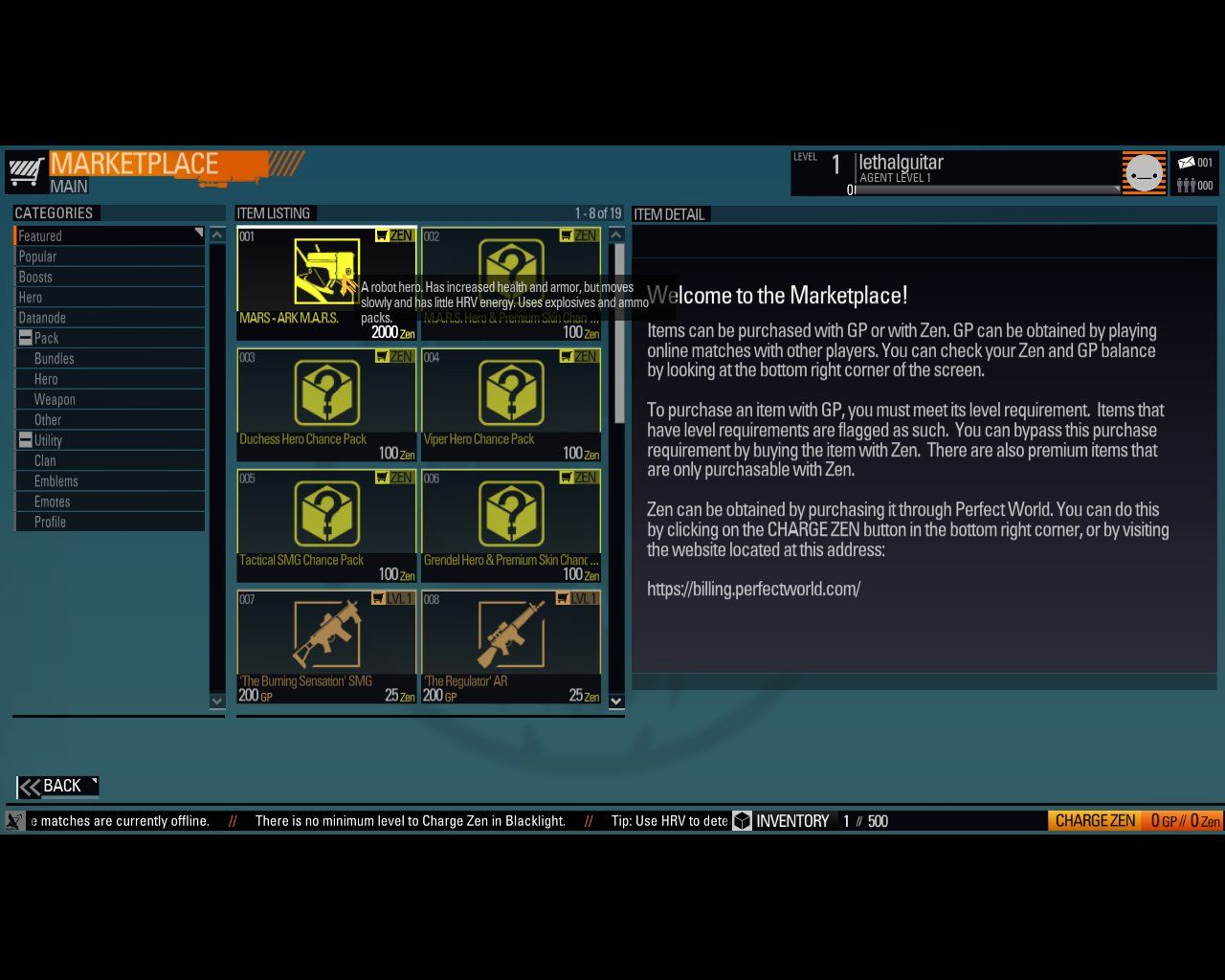 Blacklight: Retribution Windows The in-game marketplace