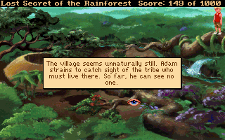 Lost Secret of the Rainforest DOS Over the village