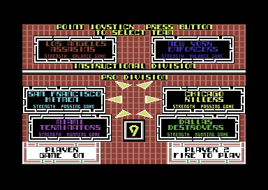 Cyberball Commodore 64 Pick your team.