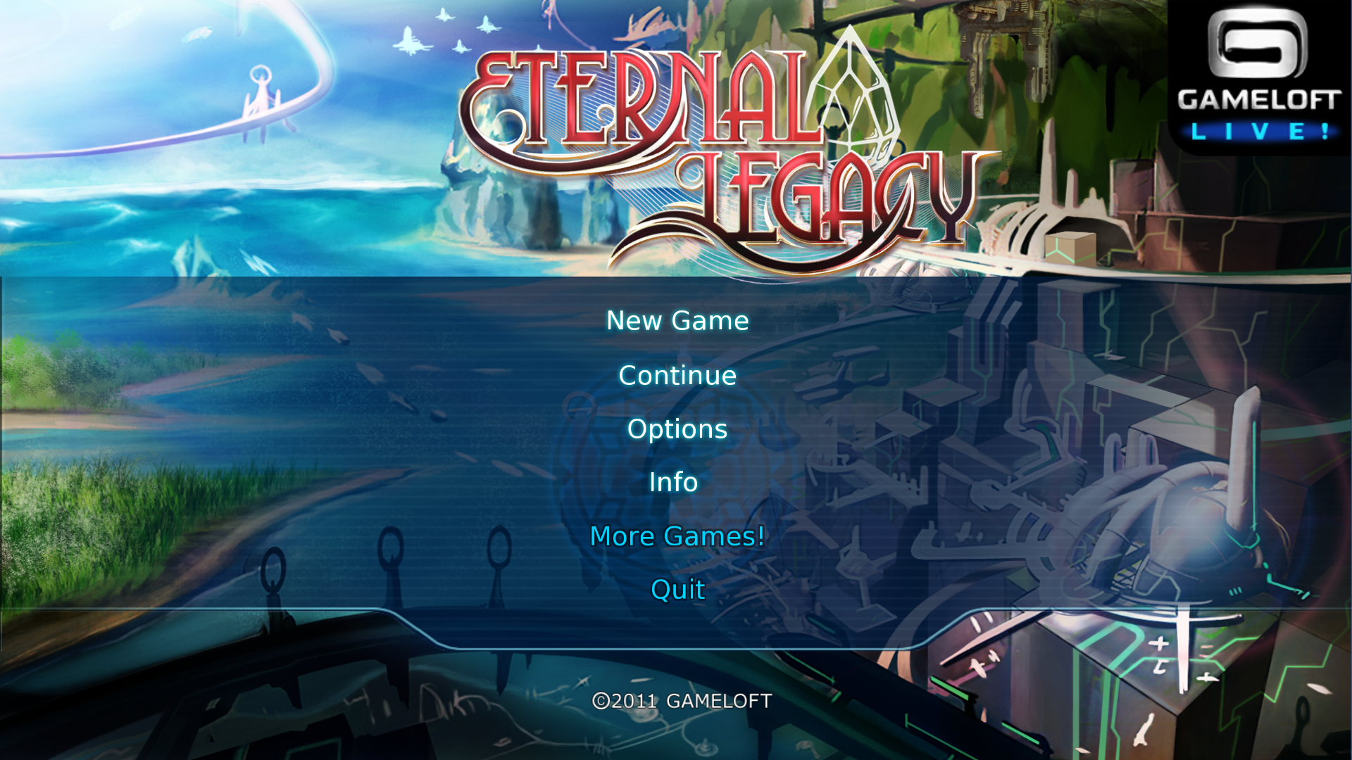 Eternal Legacy Macintosh Main Menu