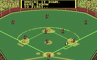 MicroLeague Baseball II DOS Out at first! (CGA with RGB monitor)