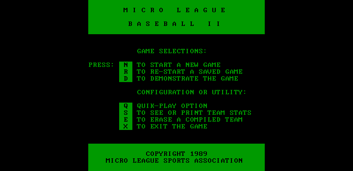MicroLeague Baseball II DOS The main menu (Hercules monochrome)