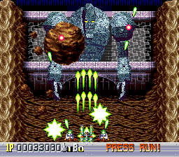 Ginga Fukei Densetsu: Sapphire TurboGrafx CD This boss throws huge rocks at me. Helen's fully charged-up green weapon